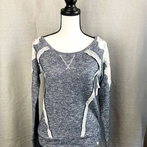 Rip Curl fleece sweater with lace shoulder XS